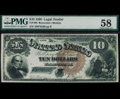 Fr. 108 1880 $10 Jackass Legal Tender PMG 58