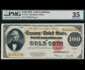 Fr. 1215 1922 $100 Gold Certificate PMG 35