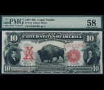 Fr. 121 1901 $10 Bison Legal Tender PMG 58