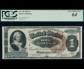 Fr. 219 1886 $1 Martha Silver Certificate PCGS 64