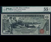 Fr. 224 1896 $1  Silver Certificate Educational PMG 55EPQ
