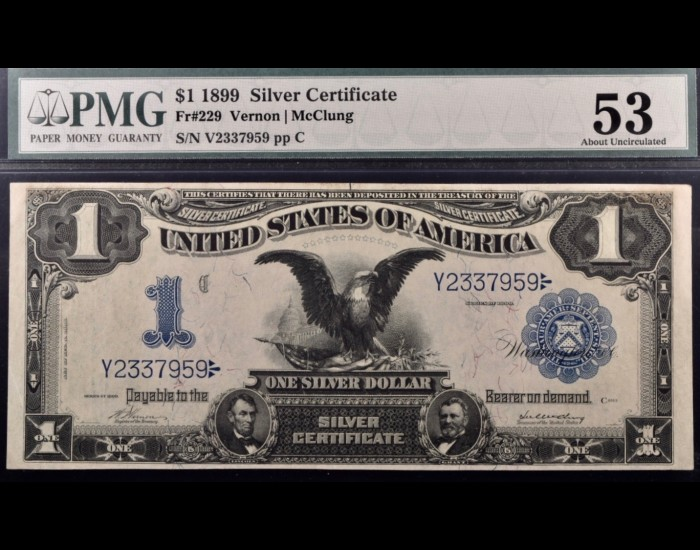 Fr. 229 1899 $1 Black Eagle Silver Certificate PMG 53
