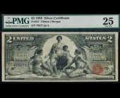 Fr. 247 1896 $2 Silver Certificate Educational PMG 25