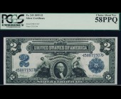 Fr. 249 1899 $2 MiniPorthole Silver Certificate PCGS 58PPQ