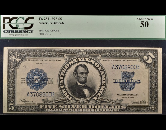 Fr. 282 1923 $5 Silver Certificate Porthole PCGS 50