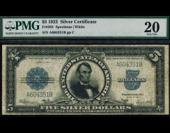 Fr. 282 1923 $5 Silver Certificate Porthole PMG 20