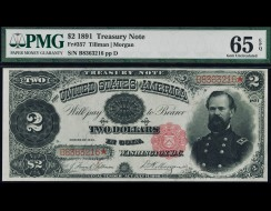 Fr. 357 1891 $2 Treasury Note PMG 65EPQ