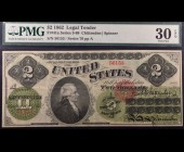 Fr. 41a 1862 $2 Legal Tender PMG 30EPQ