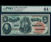 Fr. 64 1869 $5 Woodchopper Legal Tender PMG 64EPQ