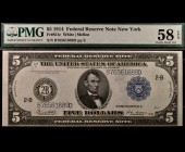 Fr. 851c 1914 $5 FRN New York PMG 58EPQ